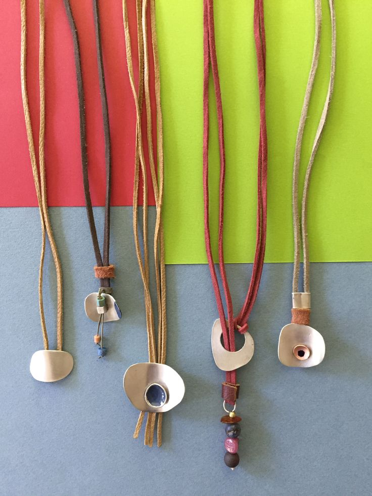 Silver long leather necklaces