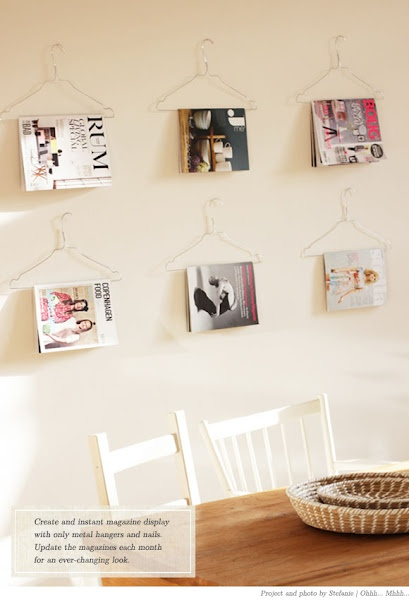 Fácil y Sencillo: DIY - Decora tu Casa con 3 Ideas Sencillas: Wall Decor, Crafts Ideas, Magazines Storage, Wire Hangers, Magazines Racks, Magazines Display, Diy, Magazine Display, Clothing Hangers