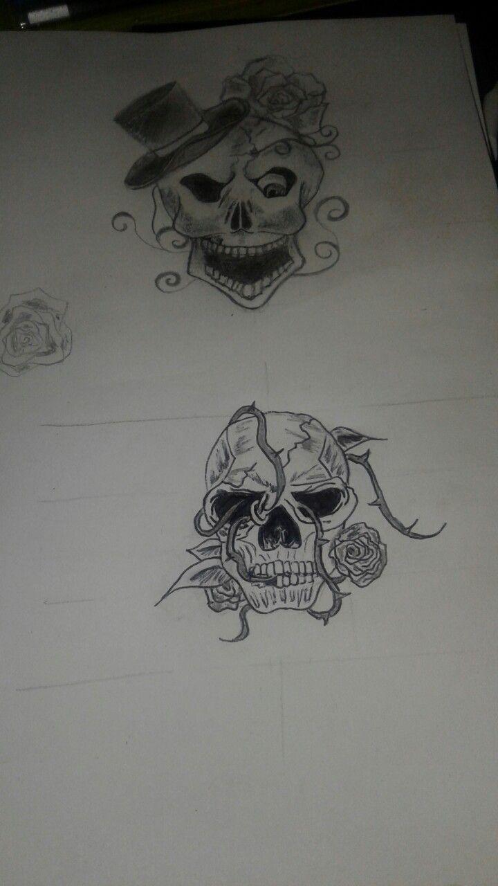 Tatouage crâne roses - B'zine