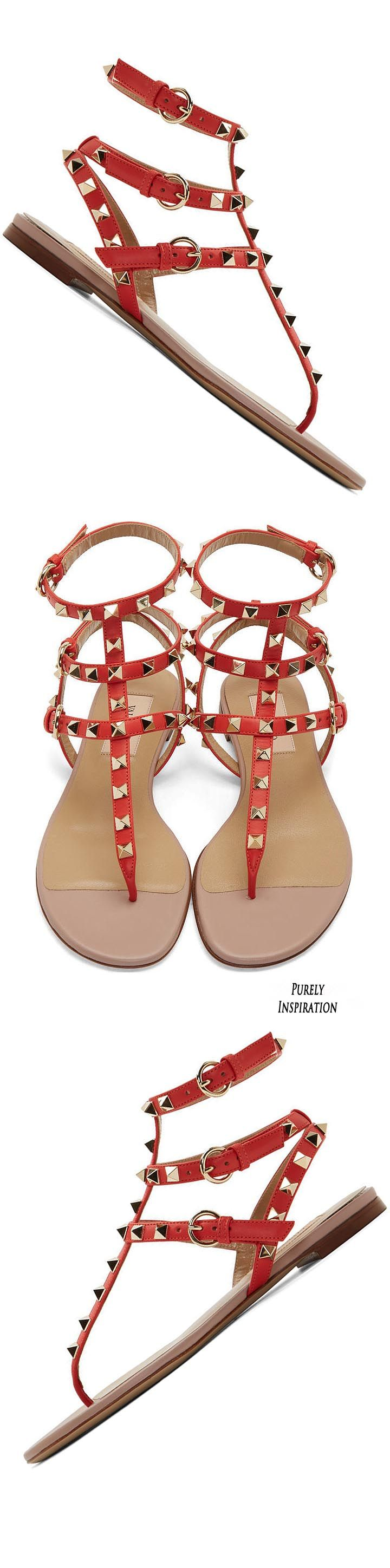 Valentino Deep Orange Leather Rockstud Gladiator Sandals | Purely Inspiration