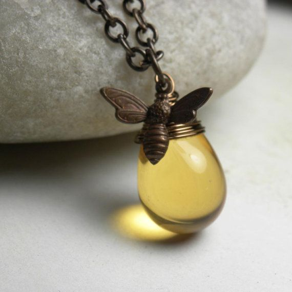 Vintaj Brass Honey Bee and Honey Drop Wire Wrapped by LunaJewelry, $29.00