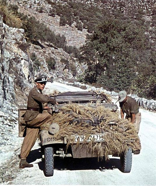 A camouflaged German Kubelwagon.