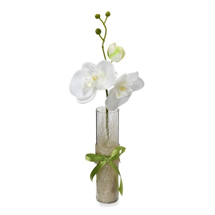 Orchidée artificielle présentée dans un tube en verre Blanc/Vert - Orchidée tube - Les plantes artificielles et déco - Les cache-pots et plantes - Jardin - Décoration d'intérieur - #AlineaPE2014