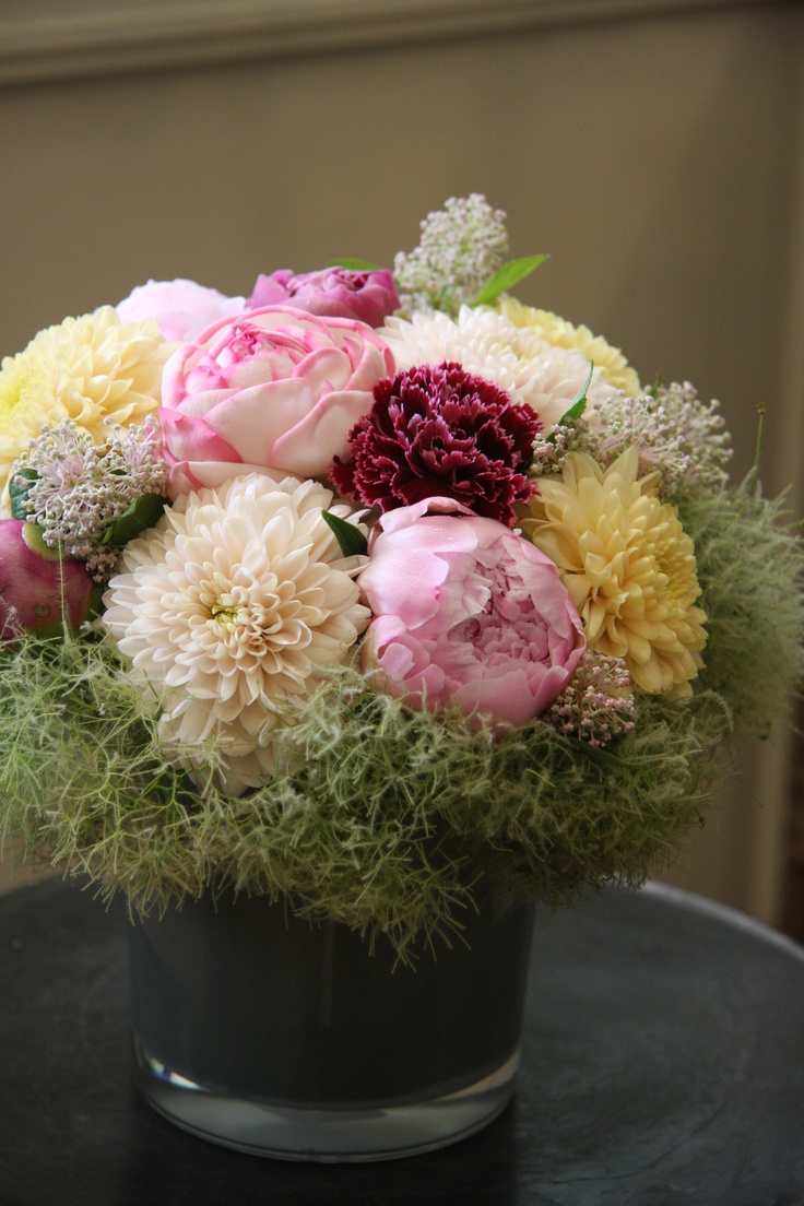 peony,mum,carnation and cotinus: Pink Design, Floral Design, Flowers Arrangements, Pretty Things, Round, Floral Arrangements, Flowers, Blumenarrang Flowers, Flowers Simple
