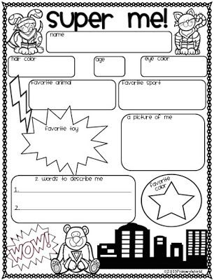 FREEBIE!  All About SUPER ME! Back to School Display Poster.  A SUPER Activity for getting  to know each other !