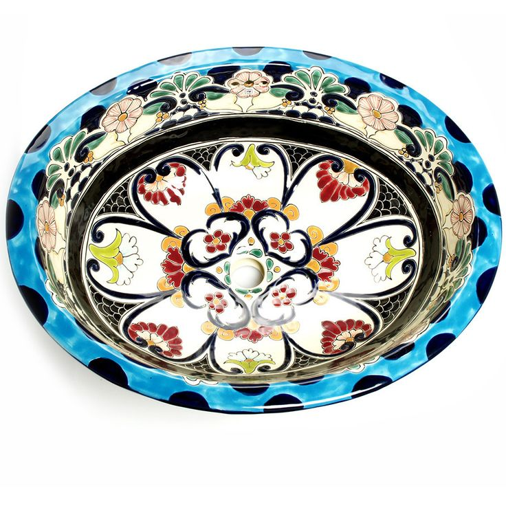 Gallery Website Mexican La Reina Large Drop In Hand painted Bathroom Basin