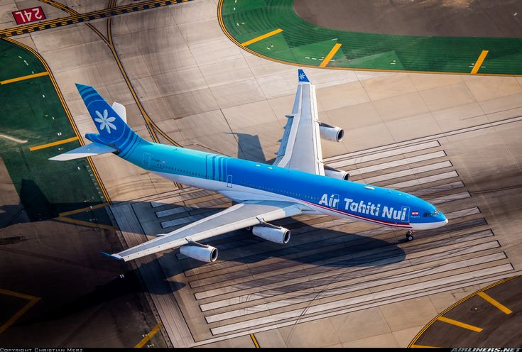 """Air Tahiti Nui Airbus A340-313 F-OJGF """"Mangareva"""" lining up for a 24L departure from Los Angeles-International, September 2015. (Photo: Christian Merz)"""