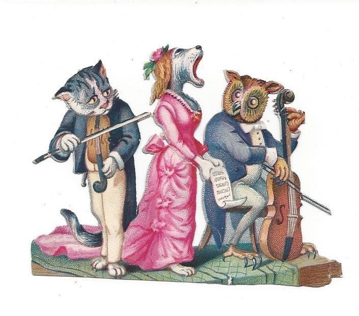 Victorian Die Cut Scrap  The Cat, the Dog, and the Owl giving a concert