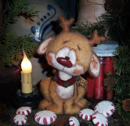 "Primitive Christmas Santa Deer Reindeer 6"" Bear Doll Vtg Patti's Ratties Rudolph"