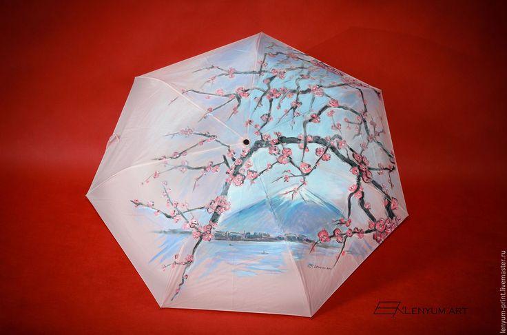 """Купить Зонт """"Японская сакура"""" - бледно-розовый, рисунок, зонт, зонтик, зонты, зонт с рисунком"""