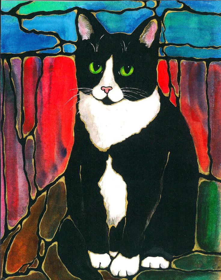 "tuxedo cats  | Darling Tuxedo Cat Art 10""x8"" Print of original by K.McCants Cool ..."