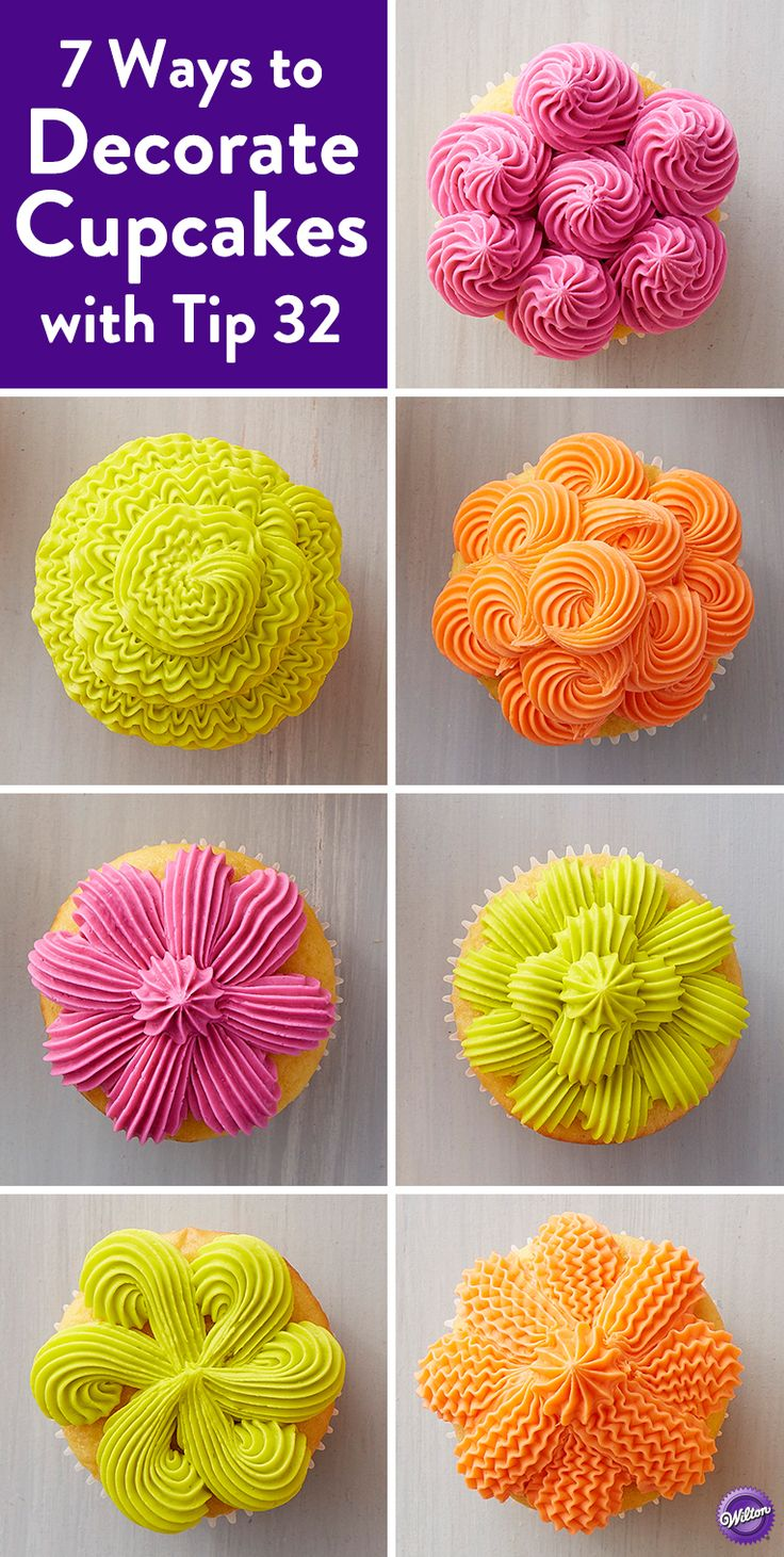 7 Ways to Decorate Cupcakes with Tip 32 - Learn how to make fun cupcake decorations using Wilton's star tip 32. From shells to rosettes, these cupcakes are a great way to show off your decorating skills. Bright icing colors make these cupcakes great for summer entertaining, and you'll love showing off all your new techniques with this collection of colorful cupcakes.