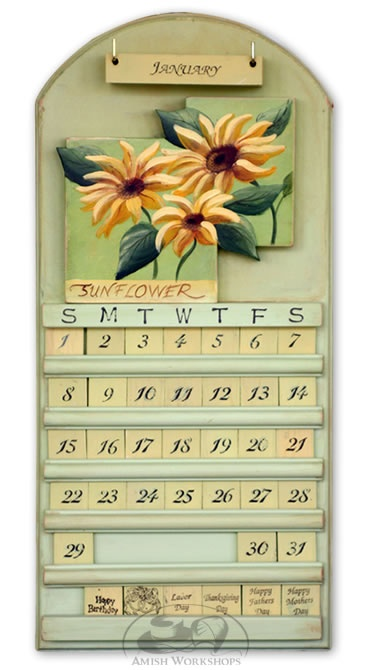 Sunflower design wooden perpetual calendar | Amish Crafts ...