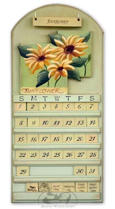Sunflower design wooden perpetual calendar | Amish Crafts ...
