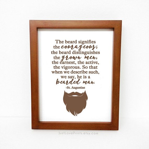 Bearded Man Quote by St. Augustine - Catholic Man Art - 8x10  or 5x7 Print