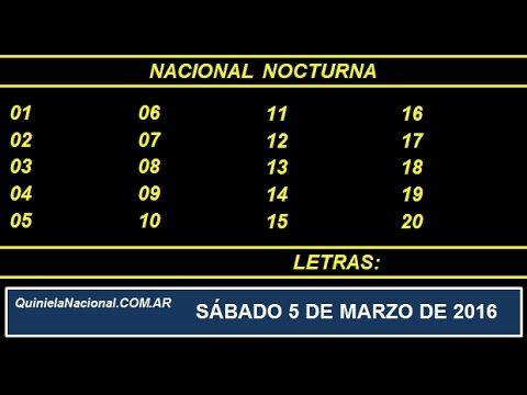 Quiniela Nacional Nocturna Sabado 5 de Marzo de 2016. Fuente: http://quinielanacional.com.ar