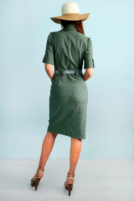 Safari Vestido de algodón con vestido militar de por Florinio