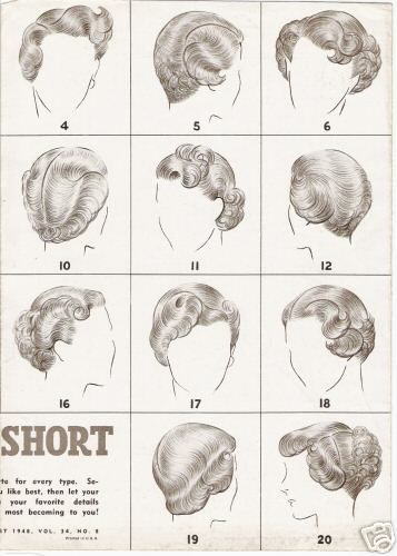 1940s short hair | Here are some sketches of shorter 40's hair that might help.