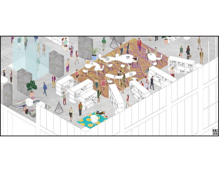 "Ex-Adafrigor, Milano Part 1 ""A new public space in an abandoned factory""  Illustration By Namjun Kim Milano, 2016"