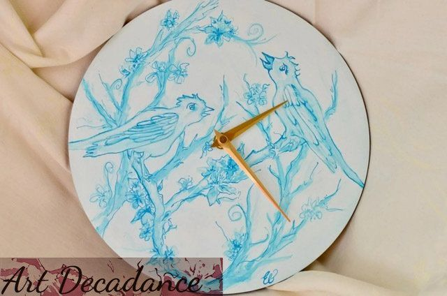 Love birds hand-painted wall clock, turquoise-blue Indian Ink, Valentines wedding, Wood Art Clock, Hand painted Circle Wall Clock, Non-tick by ArtDecadance on Etsy