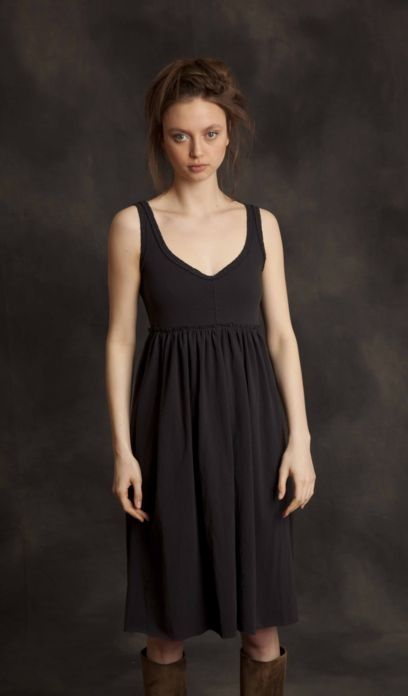Alabama chanin camisole dress black