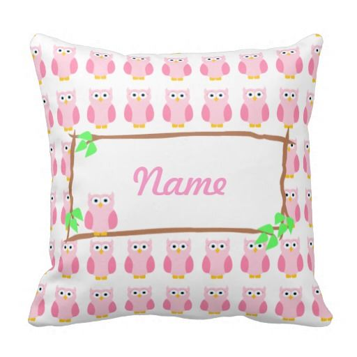 Personalize Pink Owls On A Tree Branch Pillow