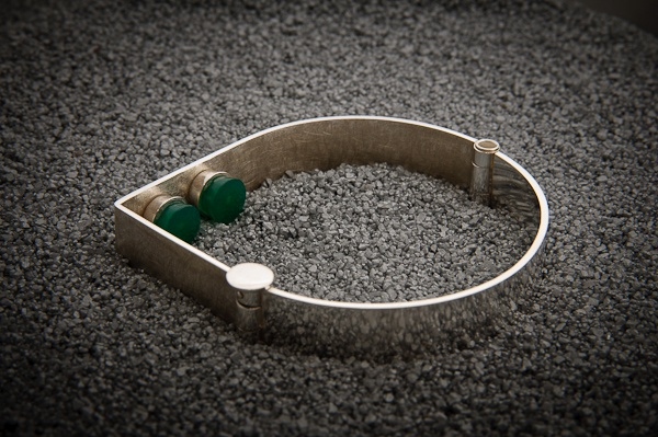 925 recycled silver bracelet, green agates; manufactured
