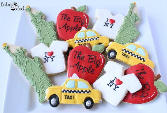 New York Decorated Cookies, NYC Cookies, Taxi Cookies, The Big Apple, New York gifts, Statue of Liberty Cookies, Decorated Cookies on Etsy, $52.50