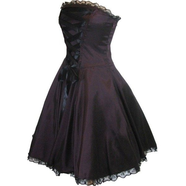 Skelapparel Plus Size Gothic Rockabilly Purple Satin Corset Lace-up... ($56) ❤ liked on Polyvore featuring dresses, short dresses, corset, dresses/skirts, plus size gothic corsets, plus size purple dress, short purple dresses and gothic corsets