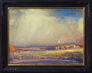 """Gordon Brown is no """"blue-sky"""" landscape painter. With a passion for pulsating natural beauty—both moody and atmospheric—dominating his paintings, there is only an occasional glimpse of that """"blue sky."""" Crashing surf, passing storms, and vivid sunlit vistas set off by a ceiling of shadowy, moody heavens that are populated by wispy clouds—all are signature elements of a Gordon Brown landscape. Meyer Gallery"""