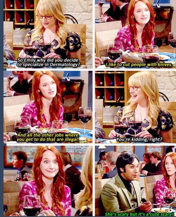 The Big Bang theory. Raj's new girlfriend Emily hope she sticks around for season 8 she is awesome