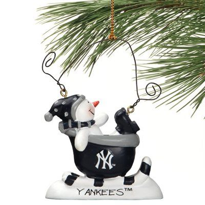 new york yankees sledding snowman ornament