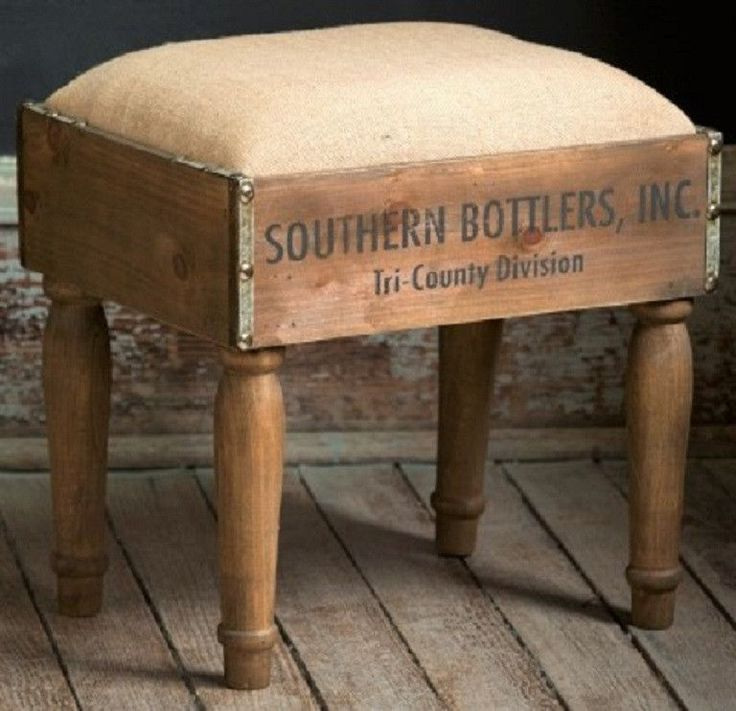 Rustic Industrial Wood Crate Southern Bottlers Footstool, Padded Burlap Top and Nailhead Trim with fruit crate