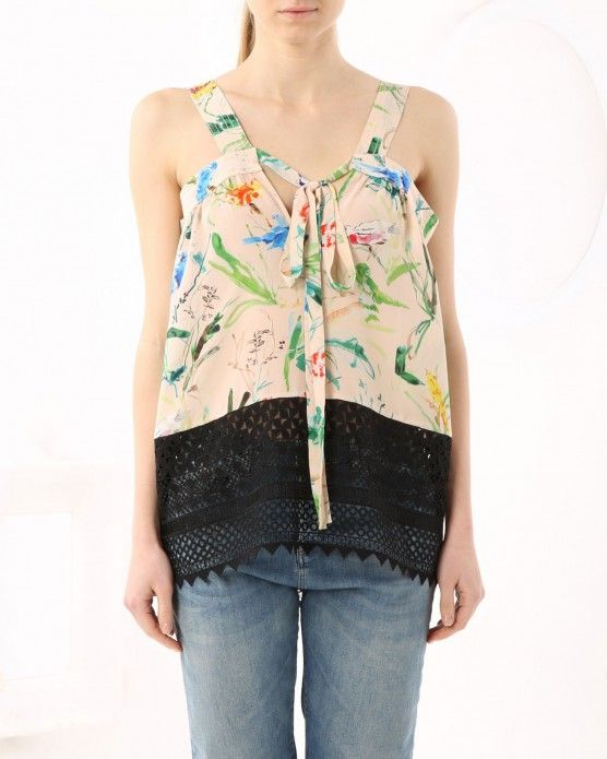 Floral top with lace trim N°21
