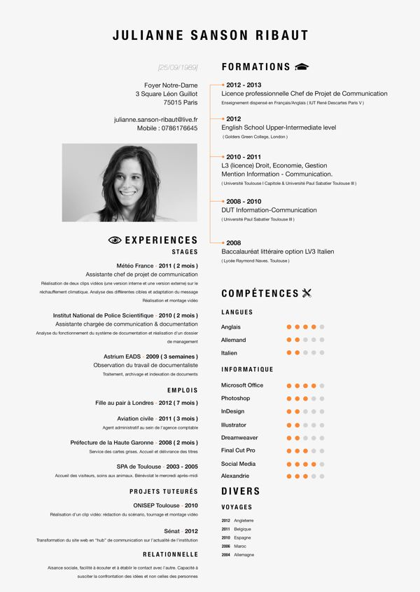 Great sight for modern resumes. There are in French but you get the idea...