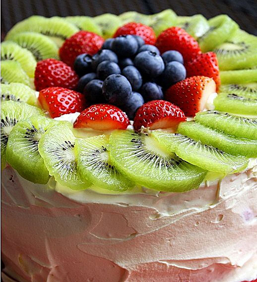 Fresh Fruit Angel Food Cake. Click image for recipe.very good taste