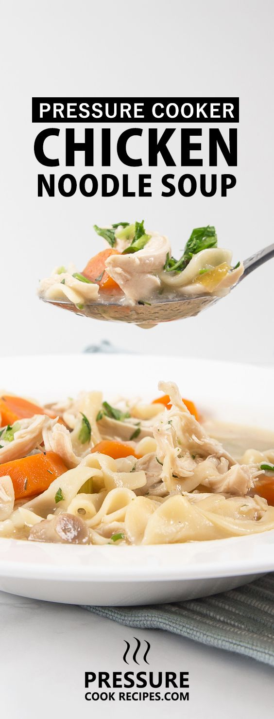 Pressure Cooker Chicken Noodle Soup Recipe: Healthy, simple & soothing Chicken Noodle Soup made with real/whole food & no butter/sauces. Homey like a warm hug when you needed it the most. via @pressurecookrec
