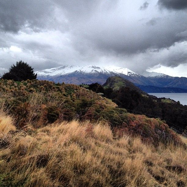 A touch of snow on the Southern Alps at Whare Kea Lodge in New Zealand. @tashstravels's photo