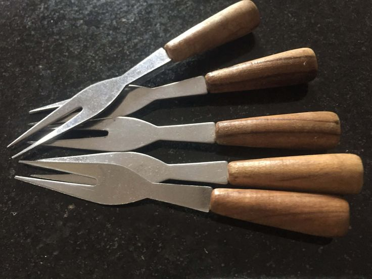 Mid-Century Mini COCKTAIL FORKS Party Barware Stainless Steel Wood Two Pronged Set of Five by BROCANTEBedStuy on Etsy
