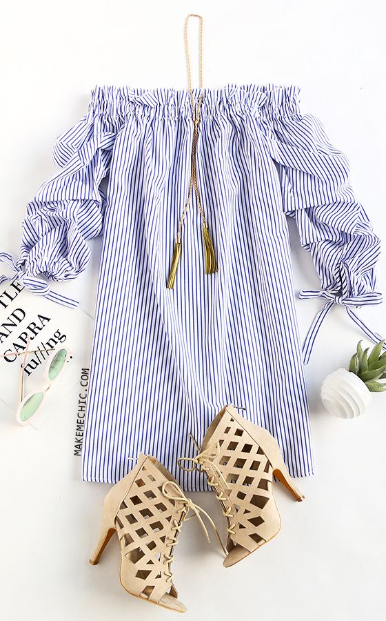 Blue Vertical Striped Tie Sleeve Off The Shoulder Dress