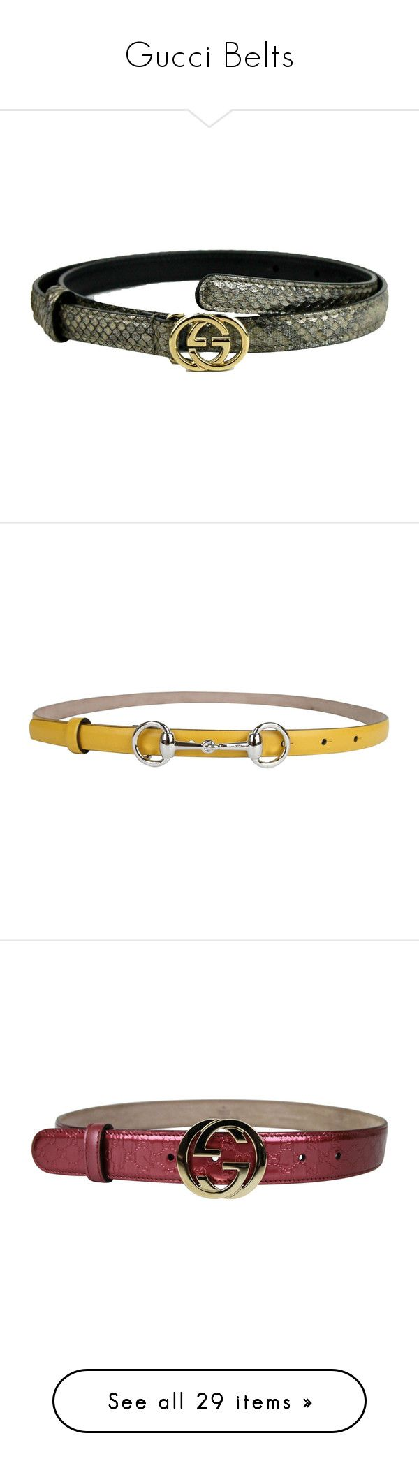 """""""Gucci Belts"""" by snobswap ❤ liked on Polyvore featuring accessories, belts, gucci belt, buckle belt, thin silver belt, skinny belts, gucci, thin belts, 100 leather belt and genuine leather belt"""