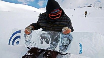 GLASS snowboard, so smooth and cool until it cracked. The World's First Glass Snowboard
