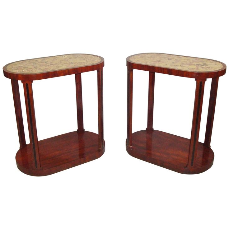 19th Century Pair of Mahogany and Marble End Tables For Sale at 1stdibs