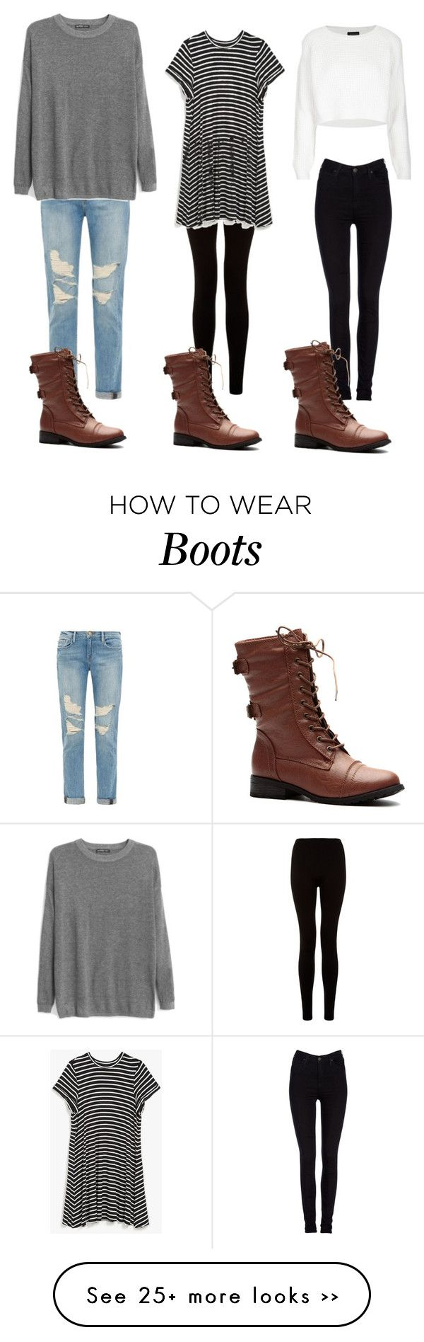 """How to Style: Brown Combat Boots"" by rileyadewitt on Polyvore"