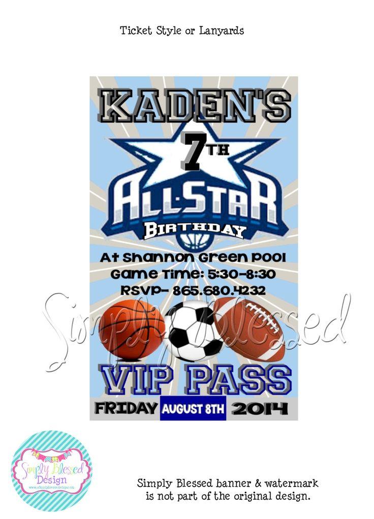 VIP Sports Party Ticket / Lanyard Invitation - DIY By: SimplyBlessedDesign by SimplyBlessedDesign on Etsy