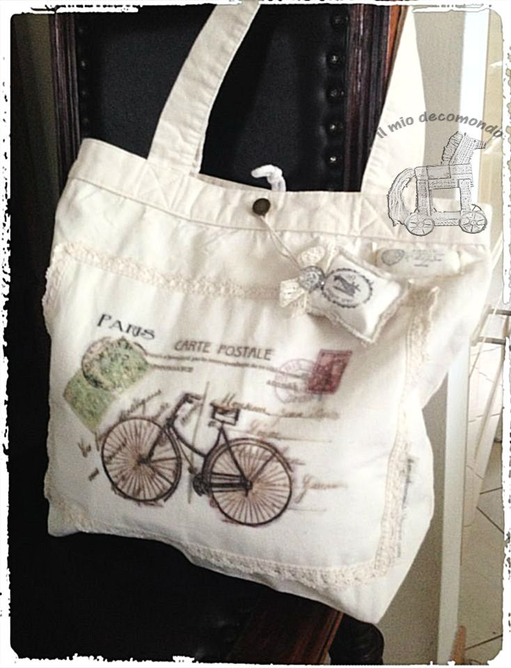 retro biciclette shopping bag