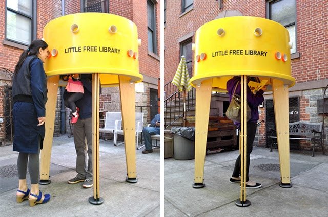 An 'inhabitable' free library where users can immerse themselves and take the time to browse through books and borrow or exchange them. The structure is built out of an upside down plastic tank and a wooden frame. Perforations around the tank allow visitors to peek inside and preview the interior, which invites them to duck under and discover the book collection while still having a connection with the exterior.