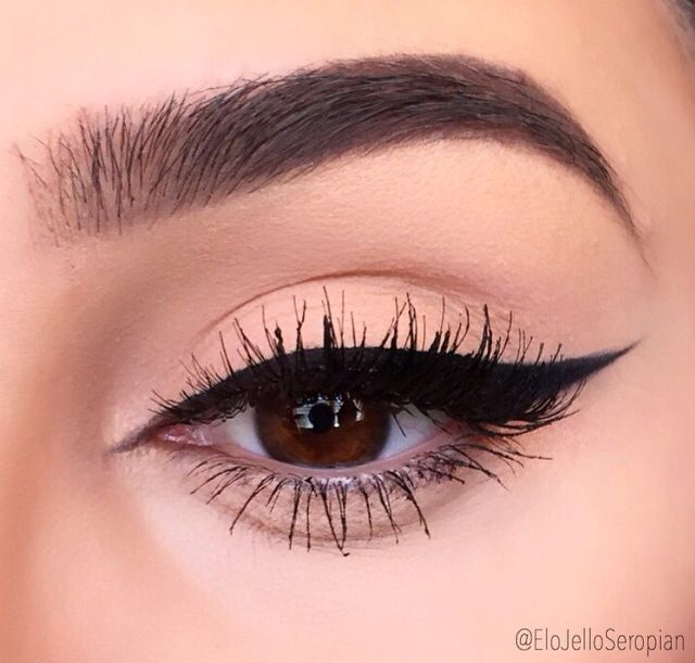 Perfect winged eyeliner & brows on fleek … More