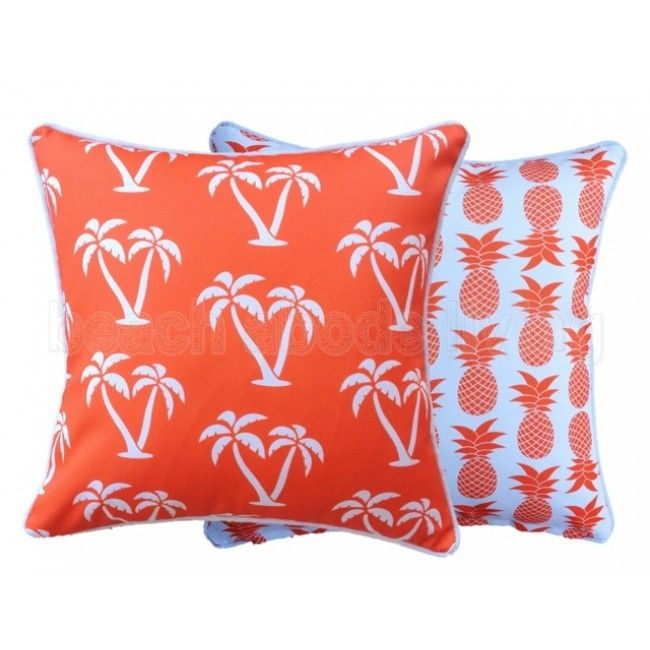 Palmapple - pineapples and palmtrees cushion 60 x 60cm reversible design in 8 great colours