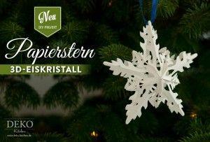 DIY Adventsstern basteln: Diesen wunderschönen Stern in Eiskristallform könnt Ihr selbst basteln. Die Anleitung und Vorlage findet Ihr auf: https://www.deko-kitchen.de/diy-sterne-basteln-mit-wunderschoener-eiskristall-optik/